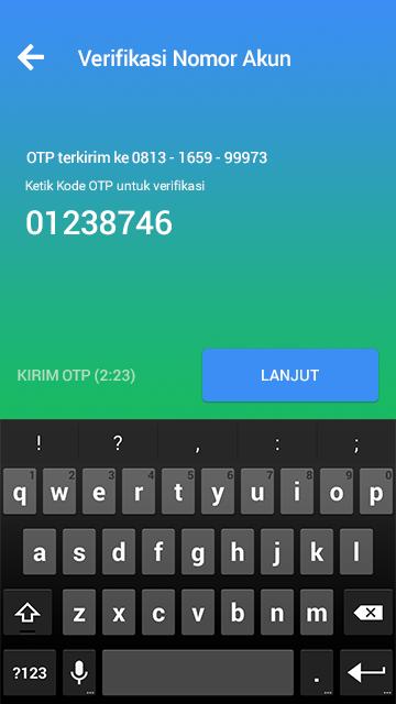 Masukan Kode OTP yang Dikirim via SMS.