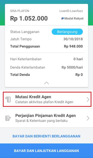 Fitur Kredit Agen - Mutasi Kredit