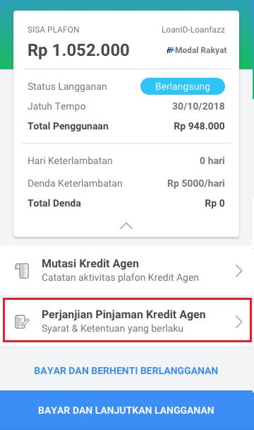 Fitur Kredit Agen - Perjanjian Pinjaman Kredit Agen