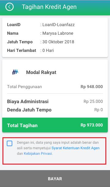 Fitur Kredit Agen - Jumlah Tagihan