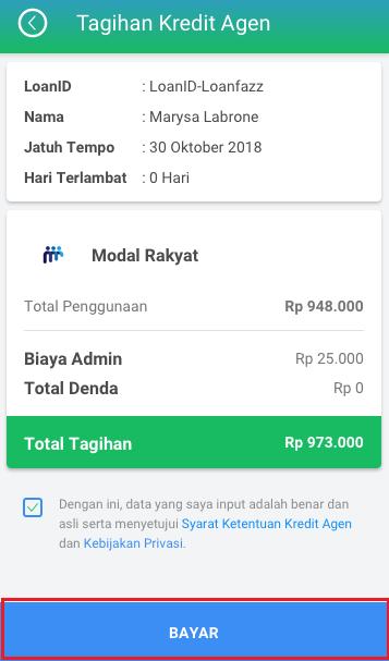 Fitur Kredit Agen - Bayar