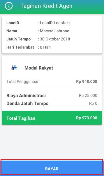 Fitur Kredit Agen - Pembayaran Tagihan