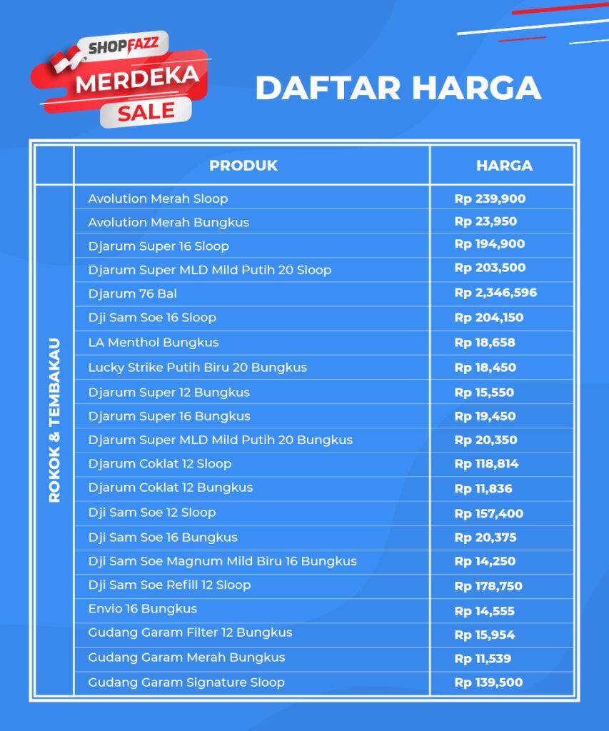 Daftar Harga Produk Shopfazz
