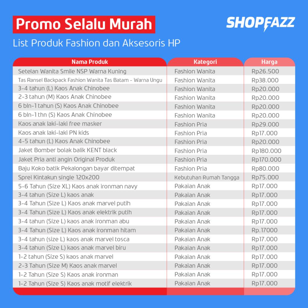 Daftar Produk Promo Selalu Murah Shopfazz - September