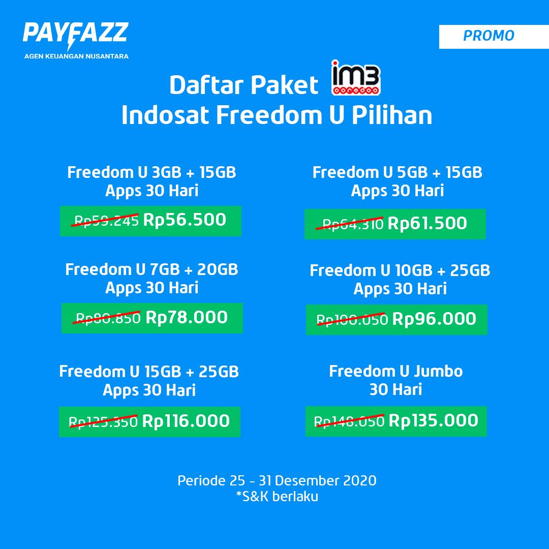 Lagi TURUN HARGA, Paket Indosat Freedom U Pilihan di PAYFAZZ Tambah Murah !