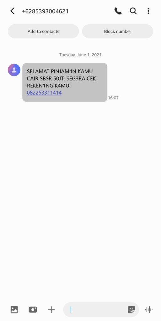 Ilustrasi 1. Contoh SMS Penipuan Bermodus Pencairan Dana Pinjo